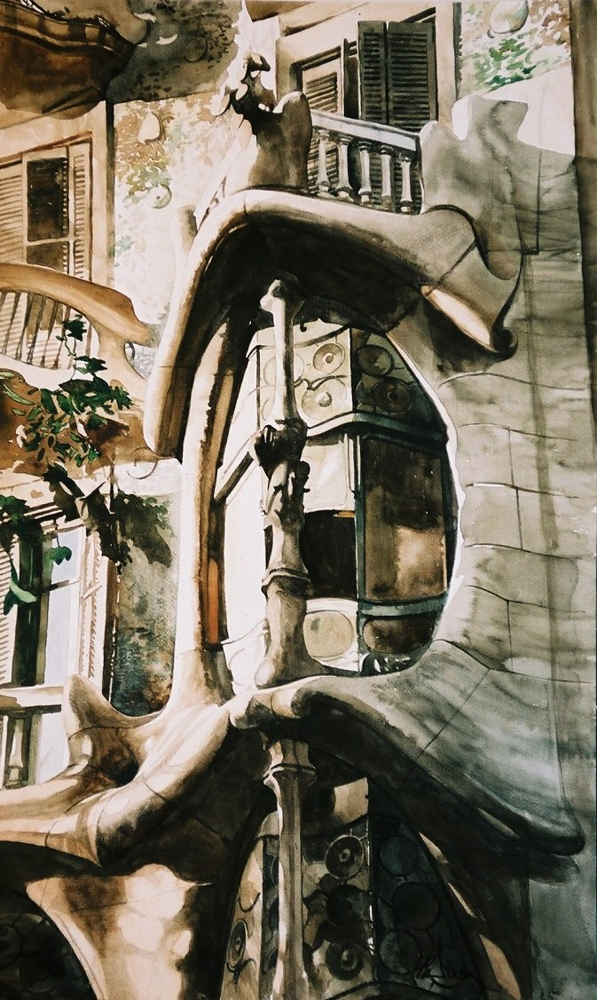 Watercolor Paul Dmoch Casa Batlló
